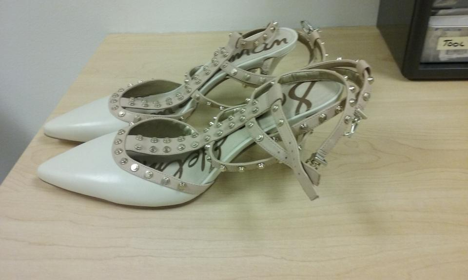 6bfbcd5853b4 Sam Edelman Cream and Blush Ollie T-strap Double Ankle Strap Studded Pumps  Size US 9.5 Regular (M