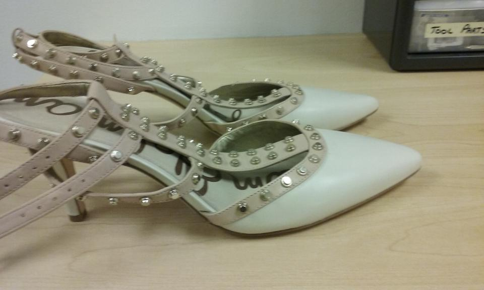 e58451a85 Sam Edelman Cream and Blush Ollie T-strap Double Ankle Strap Studded ...