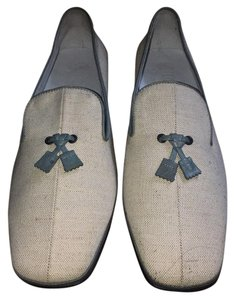 Tod's Tod's Beige linen & Blue leather loafers Flats