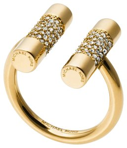Michael Kors NWT Gold Pave Open City Cuff Barrel Ring MKJ4814710 SIZE 5