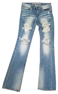 Arden B. Wash Stretch Classic Boot Cut Jeans-Distressed