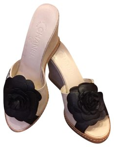 Chanel Cream with Black Carmellia Flower Wedges