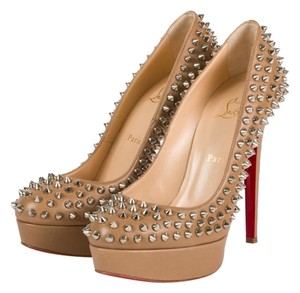 Christian Louboutin Bianca Spikes Nude Beige Platforms