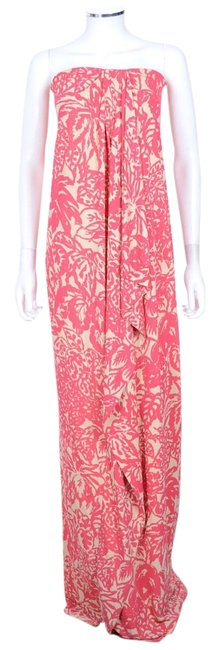 Item - Coral Print Strapless Long Casual Maxi Dress Size 10 (M)