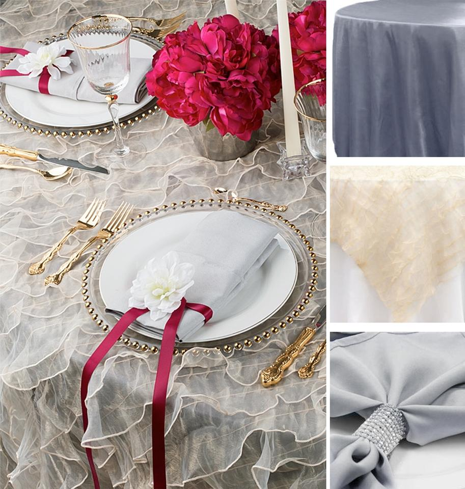Pewter Silver Ivory 10 Ruffled Organza Overlays And 100 Napkins Event Brunch Decor Anniversary Tablecloth