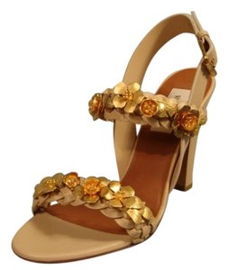 Valentino Woven/braided Strap 2 Thick Straps Runway Easy To Walk In Gold Brass Applique Beige Sandals