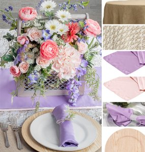 10 Burlap Tablecloths 10 Lace Overlays 10 Lavendar Satin Table Runners 10 Pink Satin Table Runners 100 Lavendar Napkins