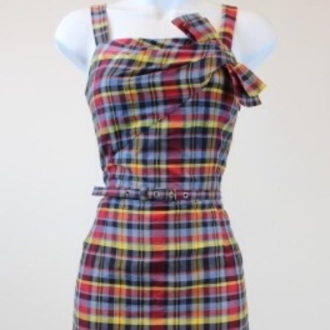 Item - Navy/Red/Yellow Multi Couture Navy/Red/Yellow Plaid Sleeveless Linen & Silk Gingham - Timeless and Seasonless Long Cocktail Dress Size 6 (S)