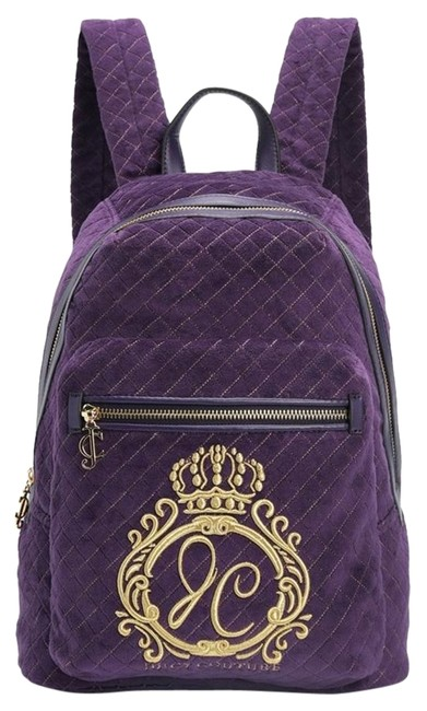 Item - Jc Monogram Quilted Velour Aubergine Purple Cotton & Polyester Backpack