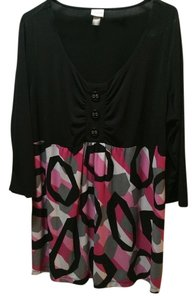 422f5ac5d1590b Venezia by Lane Bryant Top Black with pink, gray, white and black