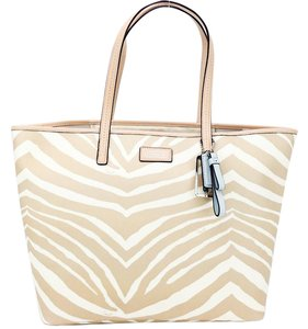 Coach Travel Carryall Laptop Zebra Tote in Ivory/Tan