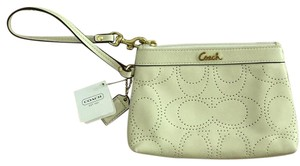 Coach Perforated Signature Wristlet in Ivory