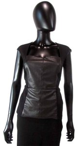 Bailey 44 Sleeveless Peplum Leather Sweetheart Top Black