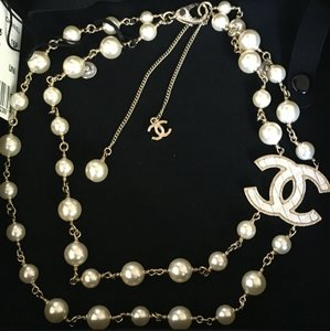Chanel Chanel 2016 Classic Quilted CC Gold Pearl Double Strand Necklace
