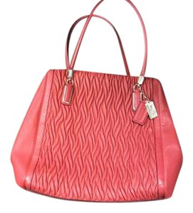 Coach Matlasse Leather Tote in Coral