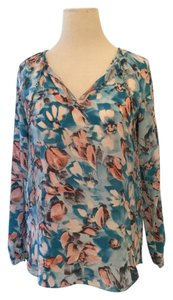 Rebecca Taylor Blue White Pink Silk Top Blue/Pink/White