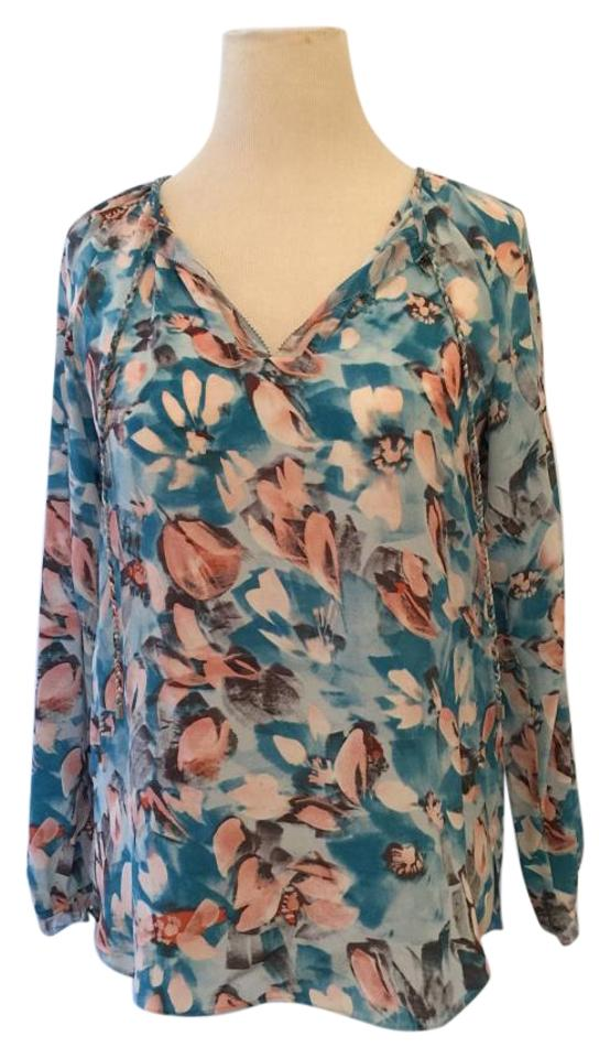 d1b5f17ba608cd Rebecca Taylor Blue/Pink/White Poolside Aloha Blouse Size OS (one ...