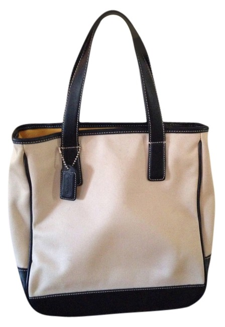 Coach Black White Canvas and Leather Tote Coach Black White Canvas and Leather Tote Image 1
