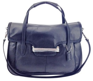 Coach Leather Flap Shoulder Satchel in Black