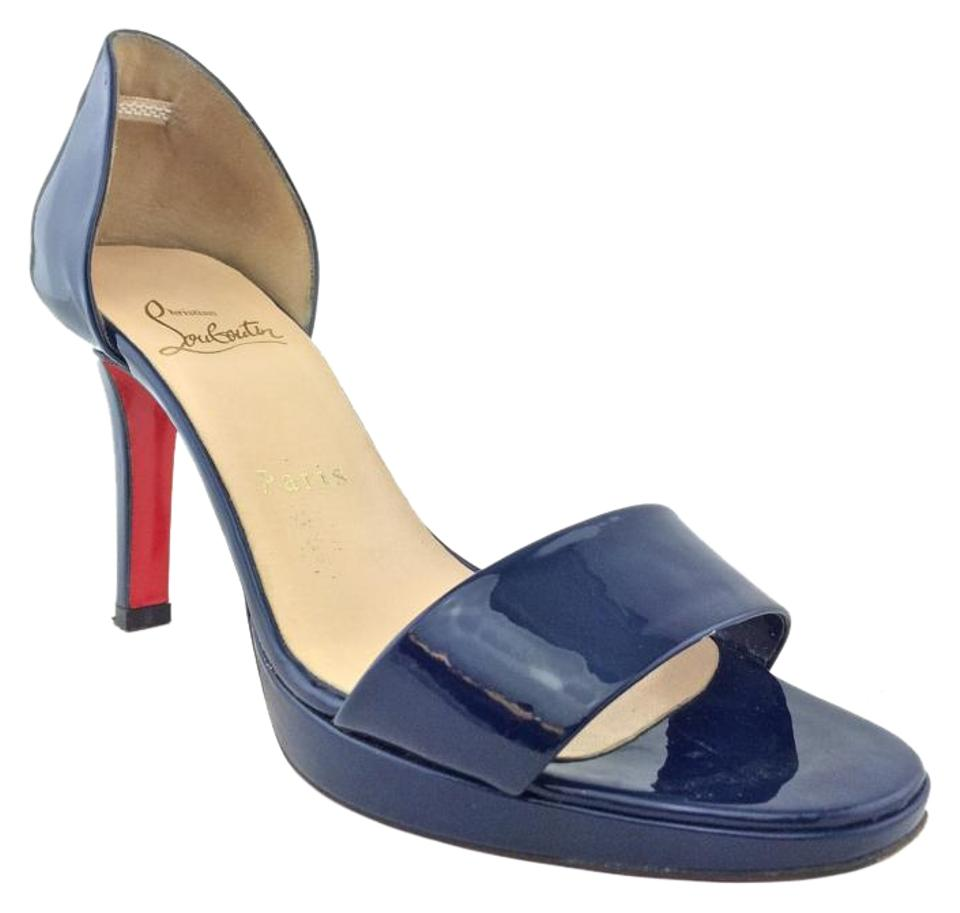 Christian Blue Louboutin Blue Christian Patent Leather Platform Sandals d76d24