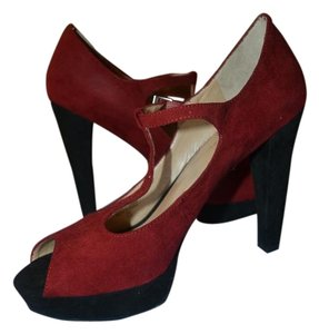 Marc Fisher Mary Jane Peep Toe Heels Red Black Suede Fabric Pumps