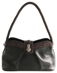 Brighton Mock Croc Leather Pebbled Satchel in Black and Brown
