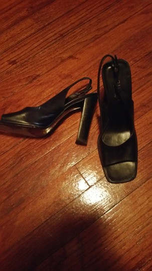 Gucci Classic Office Slingback Leather Open Toe Chunky Heel Comfortable black Pumps