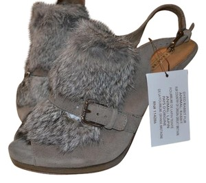 Coach Nwt Suede Fur Slingback gray suede/fur Pumps