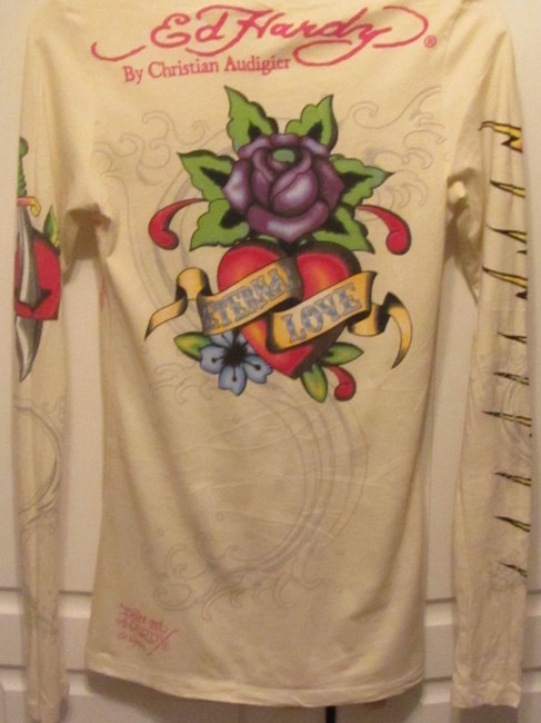 Ed Hardy T Shirt cream multi