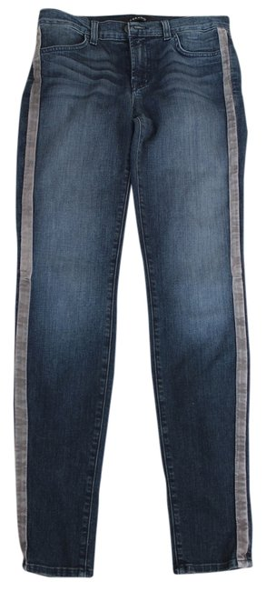 J Brand Leather Straight Leg Jeans-Dark Rinse