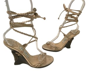Jimmy Choo All Italian E36.5 Gold braided leather straps brown leather Wedges