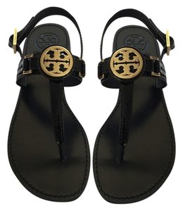 Tory Burch Cassia Flat Thong Patent Calf Black Sandals