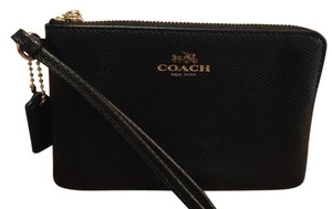 Coach Leather Wallet Wristlet in Black