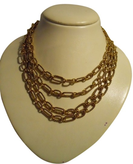 Preload https://item4.tradesy.com/images/premier-designs-antiqued-gold-tone-textured-multi-chain-necklace-1744448-0-0.jpg?width=440&height=440