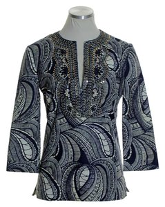 Tory Burch Sequin Woven Textured Top Blue