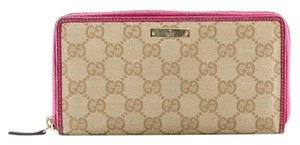 Gucci GG Monogram Zip Around Wallet Clutch