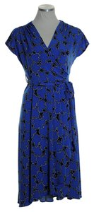 Vicky Tiel short dress Blue Cap Sleeve Stretch on Tradesy