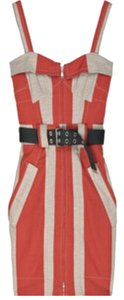 Marc by Marc Jacobs short dress Red and khaki Retro Striped Knee Length Utility Army Belt on Tradesy
