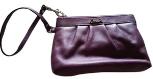 Coach Phone Case Wallet Wristlet in Purple with silver interior