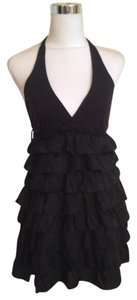 bebe short dress black Silk Halter Ruffles Open Mini on Tradesy
