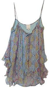 Ella Moss Anthropologie Silk Small Lined Top Shades of blue with orange, pink, yellow