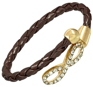 Infinity Charm Brown Leather Rhinestone Crystal Accent Infinity Bracelet