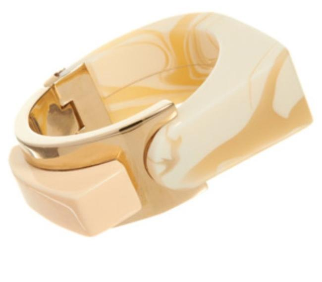 Item - Ivory and Gold Abstract Resin Large Bracelet