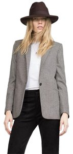 Zara Houndstooth Wool Check Plaid Work Black ecru Blazer