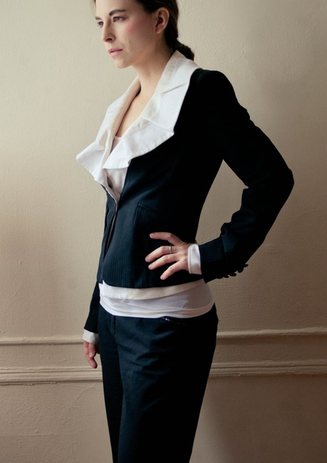 BCBG Max Azria Suitcoat Suit Suit Sperates Wool Jacket Work Business Attire Ruffle Monochrome Spring Summer Fall Black and white Blazer