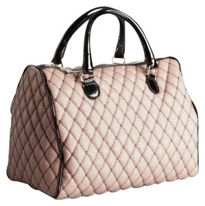 RED Valentino Fabric Mesh Feminine Quilted Satchel in Pink Black