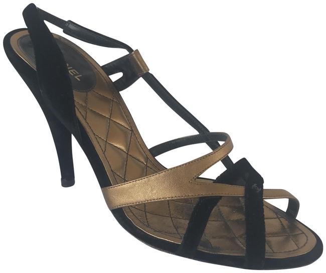 Item - Black and Gold Strappy Sandals Formal Shoes Size US 10 Regular (M, B)