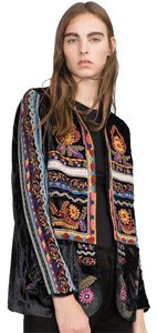 Zara Boho Velvet Embroidered 70's Black multi Blazer