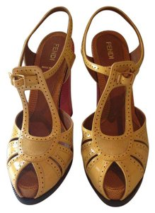 Fendi Chameleon T-strap Yellow and Coral Sandals