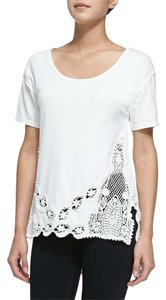 Free People Lace Trim T Shirt Cream